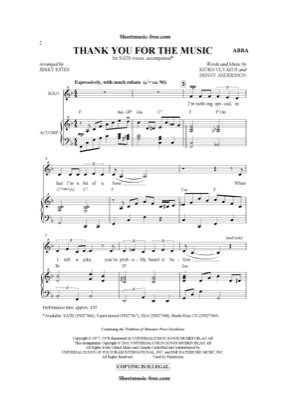 Thumbnail of first page of Thank You For The Music piano sheet music PDF by ABBA.