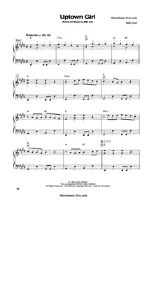 Thumbnail of first page of Uptown Girl  piano sheet music PDF by Billy Joel.