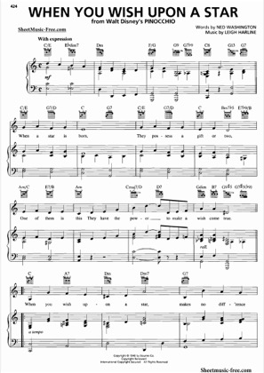 Thumbnail of first page of When You Wish Upon A Star piano sheet music PDF by Pinocchio.