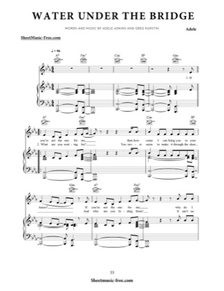 Thumbnail of first page of Water Under The Bridge  piano sheet music PDF by Adele.