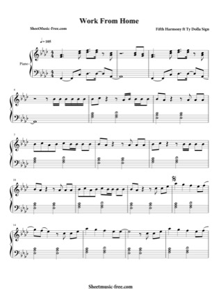 Thumbnail of first page of Work From Home piano sheet music PDF by Fifth Harmony.