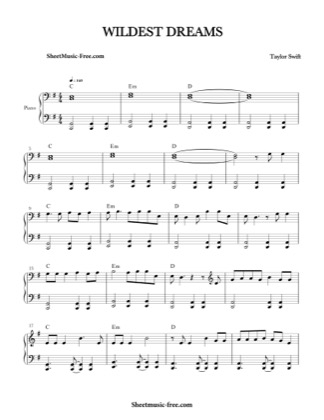 Thumbnail of first page of Wildest Dreams piano sheet music PDF by Taylor Swift.