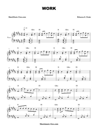 Print and download for free: Work ft. Drake piano sheet music by Rihanna.
