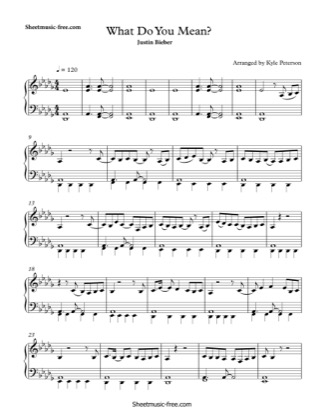 Print and download for free: What Do You Mean piano sheet music by Justin Bieber.