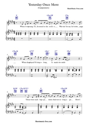 Thumbnail of first page of Yesterday Once More piano sheet music PDF by The Carpenters.