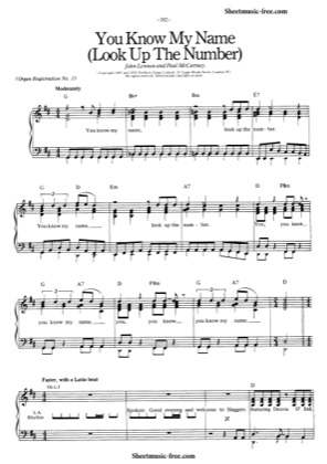 Print and download for free: You Know My Name (Look Up The Number) piano sheet music by The Beatles.