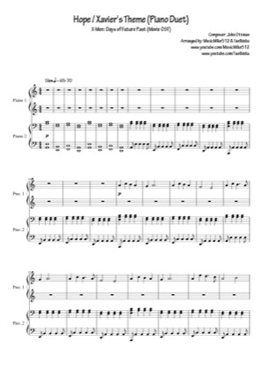 Thumbnail of first page of Hope / Xavier's Theme piano sheet music PDF by Xmen.