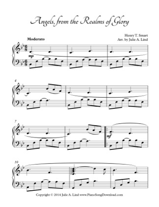 Thumbnail of first page of Angels from the Realms of Glory piano sheet music PDF by Christmas.