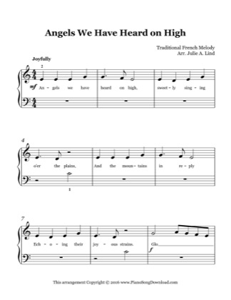 Thumbnail of first page of Angels We Have Heard on High (easy) piano sheet music PDF by Christmas.