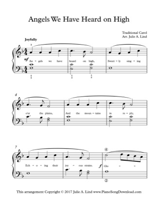 Thumbnail of first page of Angels We Have Heard on High (Lvl 2) piano sheet music PDF by Christmas.