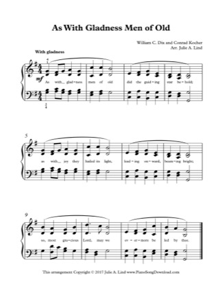 Thumbnail of first page of As with Gladness Men of Old piano sheet music PDF by Christmas.