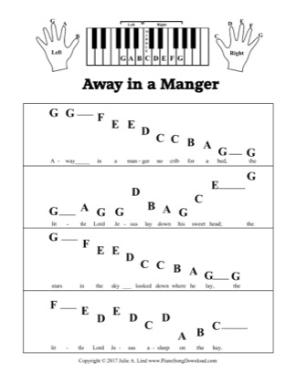 Thumbnail of first page of Away in a Manger (Kids pre-staff) piano sheet music PDF by Christmas.
