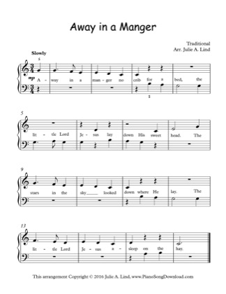 Thumbnail of first page of Away in a Manger (3) piano sheet music PDF by Christmas.