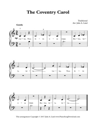 Thumbnail of first page of The Coventry Carol piano sheet music PDF by Christmas.