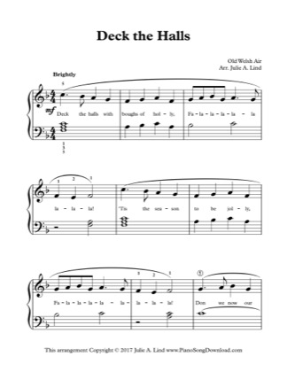 Thumbnail of first page of Deck the Halls (Kids Lvl 2) piano sheet music PDF by Christmas.