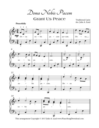 Thumbnail of first page of Grant Us Peace piano sheet music PDF by Christmas.