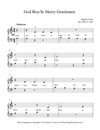 Thumbnail of first page of God Rest Ye Merry Gentlemen piano sheet music PDF by Christmas.