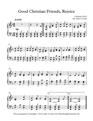 Thumbnail of first page of Good Christian Friends, Rejoice piano sheet music PDF by Christmas.