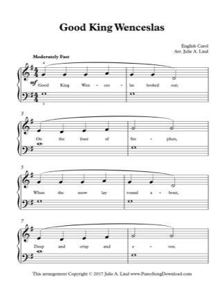 Thumbnail of first page of Good King Wenceslas (Kids Lvl 2) piano sheet music PDF by Christmas.