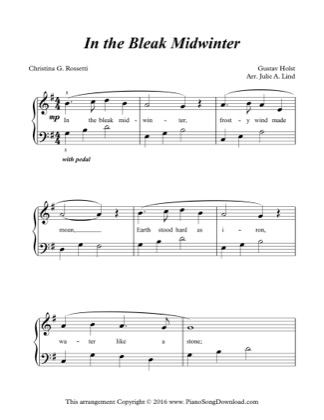 Thumbnail of first page of In the Bleak Midwinter piano sheet music PDF by Christmas.