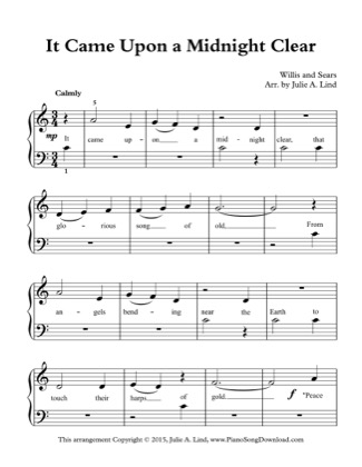 Thumbnail of first page of It Came Upon a Midnight Clear (Kids) piano sheet music PDF by Christmas.