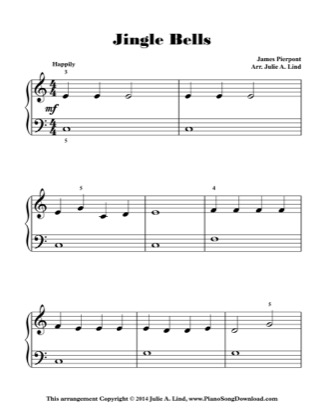 Thumbnail of first page of Jingle Bells (Kids Lvl 1) piano sheet music PDF by Christmas.