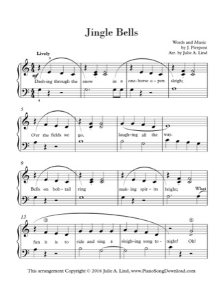Thumbnail of first page of Jingle Bells (2) piano sheet music PDF by Christmas.