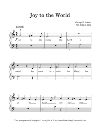 Thumbnail of first page of Joy to the World (Kids) piano sheet music PDF by Christmas.