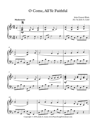 Thumbnail of first page of O Come, All Ye Faithful piano sheet music PDF by Christmas.