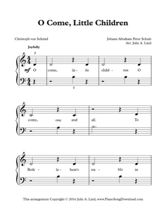 Thumbnail of first page of O Come, Little Children piano sheet music PDF by Christmas.