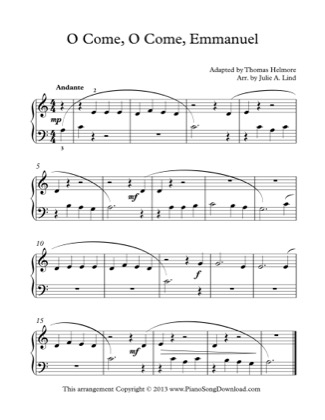 Thumbnail of first page of O Come, O Come, Emmanuel (Kids) piano sheet music PDF by Christmas.
