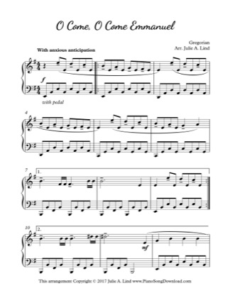 Thumbnail of first page of O Come, O Come, Emmanuel piano sheet music PDF by Christmas.