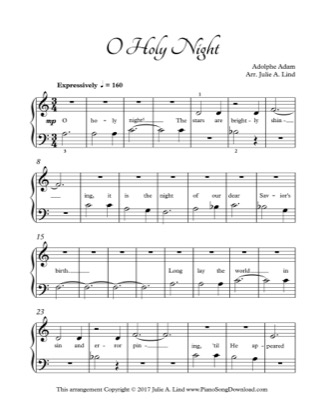 Thumbnail of first page of O Holy Night (Kids) piano sheet music PDF by Christmas.