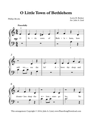 Thumbnail of first page of O Little Town of Bethlehem (Kids) piano sheet music PDF by Christmas.