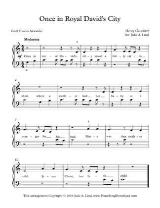 Thumbnail of first page of Once in Royal David's City piano sheet music PDF by Christmas.
