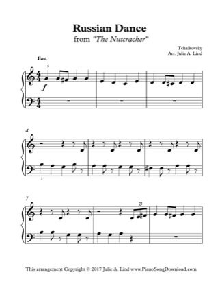 Thumbnail of first page of Russian Dance from The Nutcracker piano sheet music PDF by Christmas.