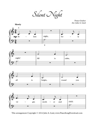 Thumbnail of first page of Silent Night (Kids) piano sheet music PDF by Christmas.