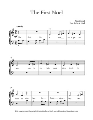 Thumbnail of first page of The First Noel (Kids) piano sheet music PDF by Christmas.