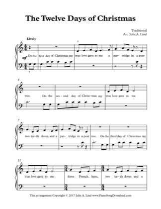 Thumbnail of first page of The Twelve Days of Christmas piano sheet music PDF by Christmas.