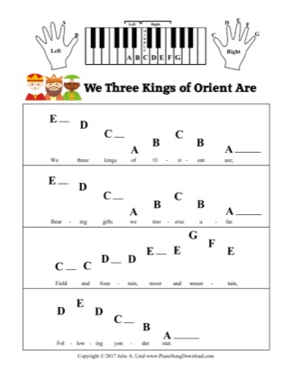 Thumbnail of first page of We Three Kings of Orient Are (Kids Pre-staff) piano sheet music PDF by Christmas.