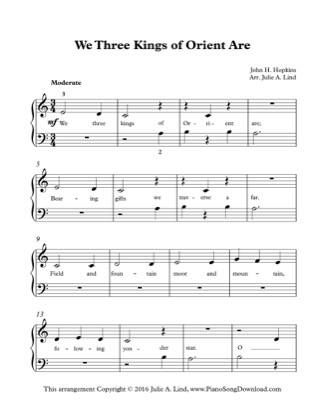 Thumbnail of first page of We Three Kings of Orient Are (Kids Lvl 1) piano sheet music PDF by Christmas.