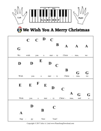 Thumbnail of first page of We Wish You A Merry Christmas (Kids Pre-staff) piano sheet music PDF by Christmas.