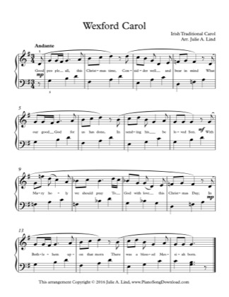 Thumbnail of first page of Wexford Carol piano sheet music PDF by Christmas.