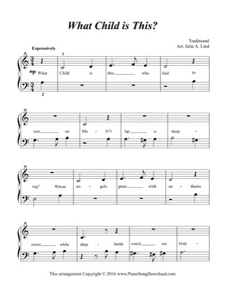 Thumbnail of first page of What Child is This? (Kids) piano sheet music PDF by Christmas.
