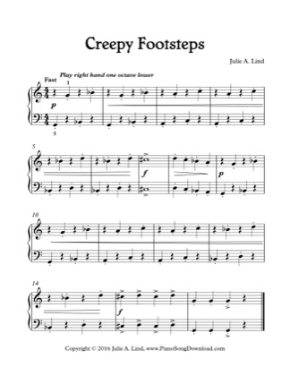 Thumbnail of first page of Creepy Footsteps piano sheet music PDF by Kids Halloween.