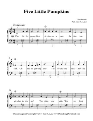 Thumbnail of first page of Five Little Pumpkins piano sheet music PDF by Halloween.