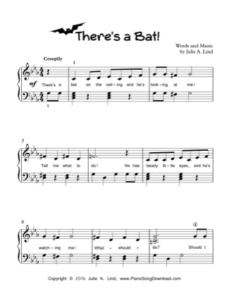 Thumbnail of first page of There's a Bat! piano sheet music PDF by Kids Halloween.