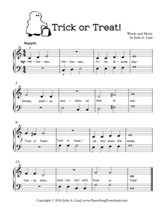 Thumbnail of first page of Trick or Treat piano sheet music PDF by Kids Halloween.