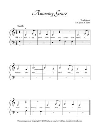 Thumbnail of first page of Amazing Grace piano sheet music PDF by Kids (Lvl 1).
