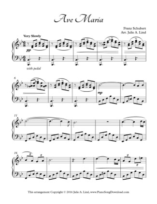 Thumbnail of first page of Ave Maria piano sheet music PDF by Schubert.